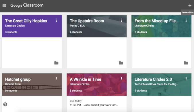Google Classroom for Lit. Circles 1