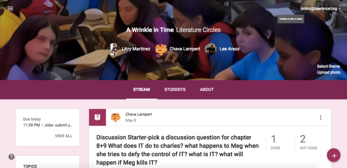 Google Classroom for Lit. Circles 2